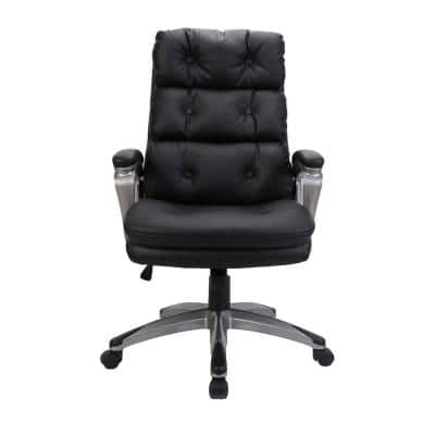Black High Back Adjustable Height Leather Ergonomic Executive Office Chair with Lumbar Support