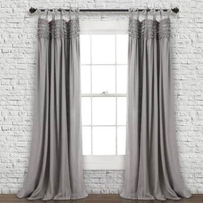 Gray Solid Tie Top Room Darkening Curtain - 40 in. W x 84 in. L (Set of 2)
