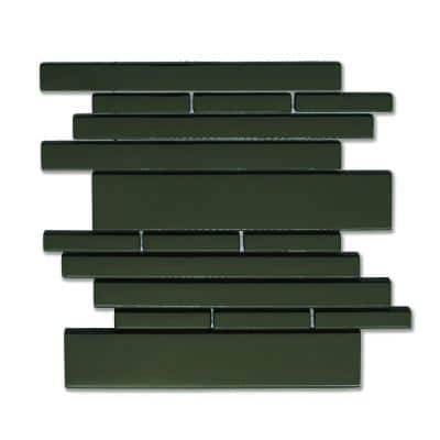 Piano Glass Melody 9-1/2 in. x 10-1/2 in. Black Mesh-Mounted Mosaic Wall Tile (6.92 sq. ft. / case)