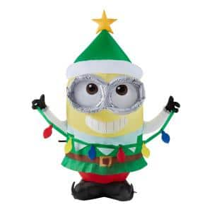 3.5 ft Pre-Lit LED Airblown Dave as Elf Christmas Inflatable