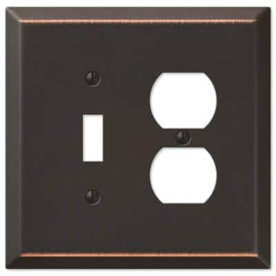 Oversized 2 Gang 1-Toggle and 1-Duplex Steel Wall Plate - Aged Bronze