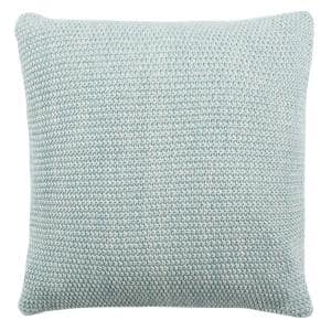 Liliana Dull Blue/Natural 20 in. x 20 in. Knit Throw Pillow