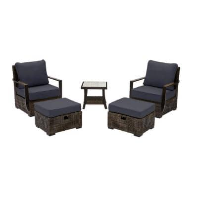 Whitfield 5-Piece Dark Brown Wicker Outdoor Patio Bistro Set with CushionGuard Midnight Navy Blue Cushions