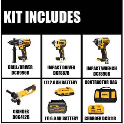 20-Volt MAX Cordless Brushless Combo Kit (2-Tool)w/ FLEXVOLT & 20V Batteries, Bonus Grinder & Impact Wrench (Tools-Only)