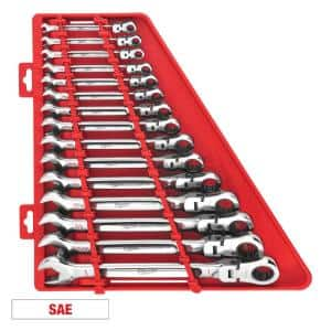 144-Position Flex-Head Ratcheting Combination Wrench Set SAE (15-Piece)