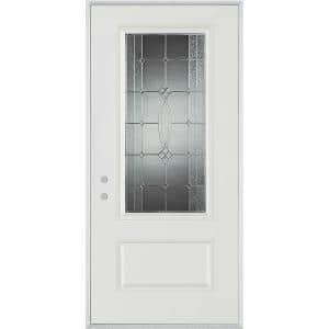 Stanley Doors 36 In X 80 In Bellochio Patina 3 4 Lite 1 Panel Painted White Right Hand Inswing Steel Prehung Front Door 1540e Bn 36 R P The Home Depot