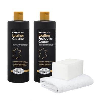 Leather Care Kit: 17 oz. Leather Cleaner, 17 oz. Leather Protection Cream with Sponge and Cloth