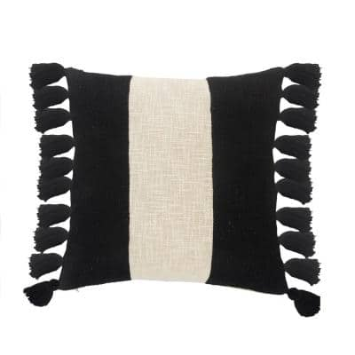 Trinity Black and Ivory Stripe Fringe Soft Poly-fill 20 in. x 20 in. Throw Pillow