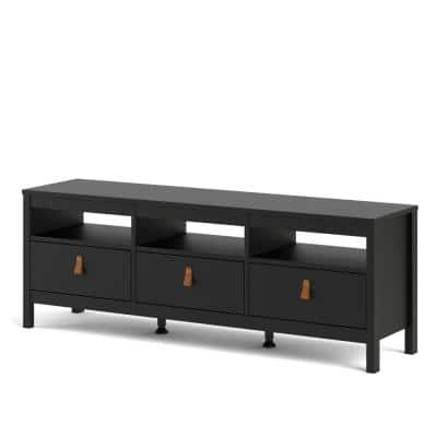 Madrid 60 in. Black Matte TV Stand with 3 Storage-Drawers Fits TV's up to 55 in. with Cable Management