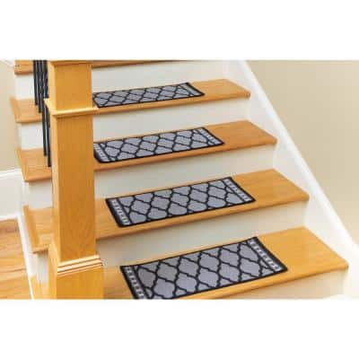 Non Slip Mosaic Black 9 in. x 27 in. Nylon Stair Tread Covers (Set of 4)