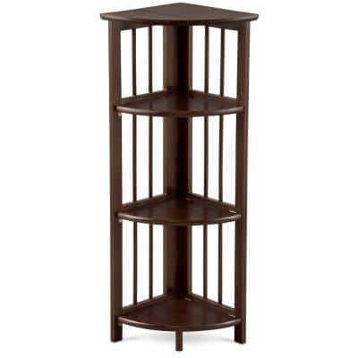 38.75 in. Truffle Brown Wood 4-shelf Corner Bookcase