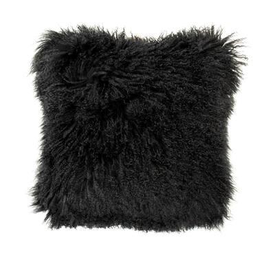 Tibetan Black Lamb Fur Pouf