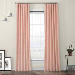 Peach Blossom Velvet Rod Pocket Room Darkening Curtain - 50 in. W x 96 in. L