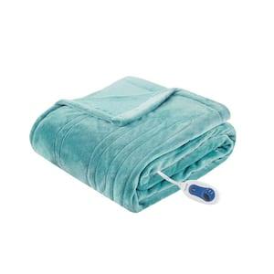60 in. x 70 in. Heated Plush Aqua Full Electric Throw Blanket