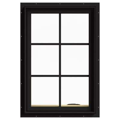 24 in. x 36 in. W-2500 Series Black Painted Clad Wood Right-Handed Casement Window with Colonial Grids/Grilles