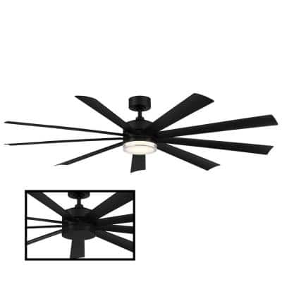 Wynd XL 72 in. 3000K Integrated LED Indoor/Outdoor Matte Black Smart Ceiling Fan with Light Kit and Remote
