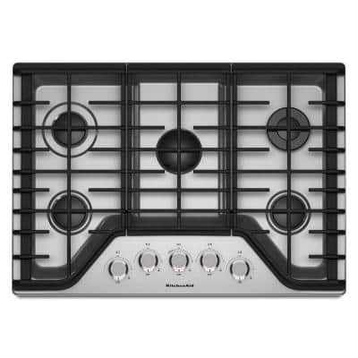 30 in. Gas Cooktop in Stainless Steel with 5 Burners Including a Multi-Flame Dual Tier Burner and a Simmer Burner