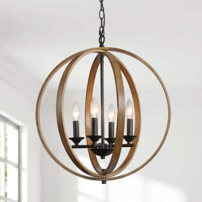 4-Light Black Farmhouse Globe Open Cage Pendant with Faux Wood Accent