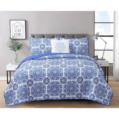 Briar 3-Piece Blue Microfiber Twin Quilt Set
