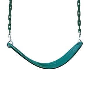 Extreme-Duty Green Belt Swing with Yellow Chains