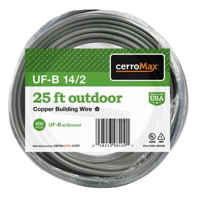 25 ft. 14/2 Gray Solid CerroMax UF-B Cable with Ground Wire