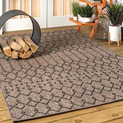 Ourika Moroccan Natural/Black 7 ft. 9 in. x 10 ft. Geometric Textured Weave Indoor/Outdoor Area Rug