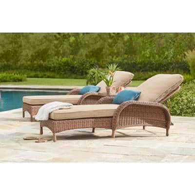 Beacon Park Brown Wicker Outdoor Patio Chaise Lounge with CushionGuard Toffee Trellis Tan Cushions