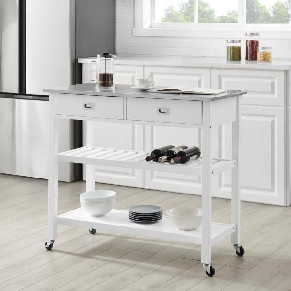 Crosley Furniture Chloe White With Stainless Steel Top Kitchen Island Cf3027ss Wh The Home Depot
