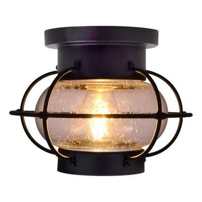 Essex 8.5 in. Single Bulb Antique Black Ceiling Semi-Flush Mount with 1 Edison 6.5-Watt LED Light Bulb Included