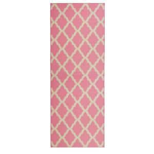 Glamour Collection Contemporary Moroccan Trellis Design Pink 2 ft. x 5 ft. Kids Runner Rug