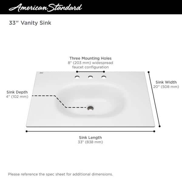 American Standard Studio S 33 In Bathroom Vanity Sink Top With 8 In Faucet Holes In White 1298008 020 The Home Depot