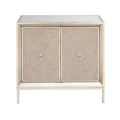 32 in. W x 32 in. H Beige Metal, Wood, and Mirror 2-Door Cabinet