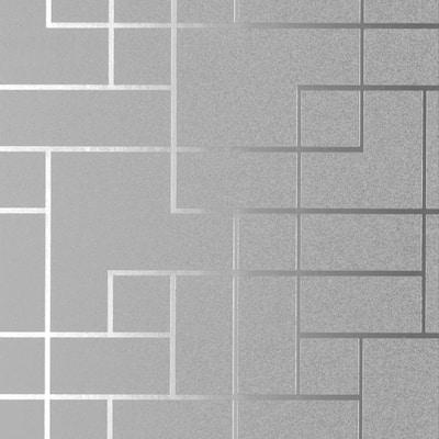 Anschutz, Mason Silver Geometric Vinyl Peelable Wallpaper Roll (Covers 56.4 sq. ft.)