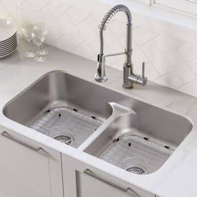 Ellis All-in-One Undermount Stainless Steel 32 in. 50/50 Double Bowl Kitchen Sink with Commercial Pull-Down Faucet