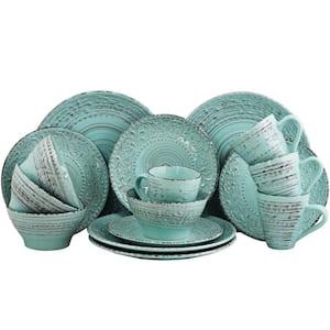 Malibu 16-Piece Coastal Turquoise Stoneware Dinnerware Set (Service for 4)