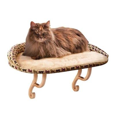 Kitty Sill Deluxe Medium Tan Kitty Print Window Sill Cat Seat with Bolster