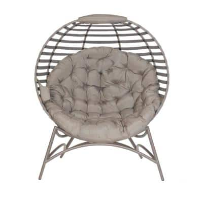 Cozy Modern Sand Tufted Metal Outdoor Lounge Chair with Sand Cushion