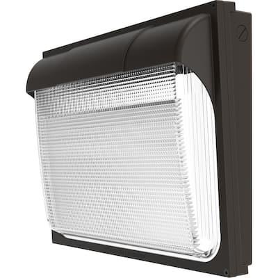 Contractor Select 400-Watt Equivalent Integrated LED Dark Bronze Wall Pack Light, Adjustable Lumen Output 5000K
