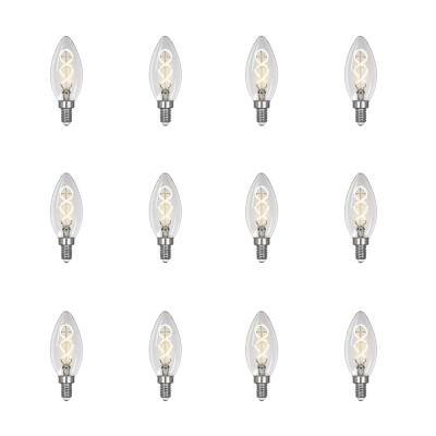 25-Watt Equivalent B10 Dimmable Candelabra Clear Glass Vintage LED Light Bulb w/Spiral Filament Bright White (12-Pack)