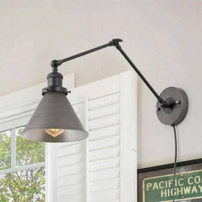 1-Light Black and Gray Plug-In or Hardwire Modern Industrial Adjustable Swing Arms Wall Sconce with Bell Lampshade