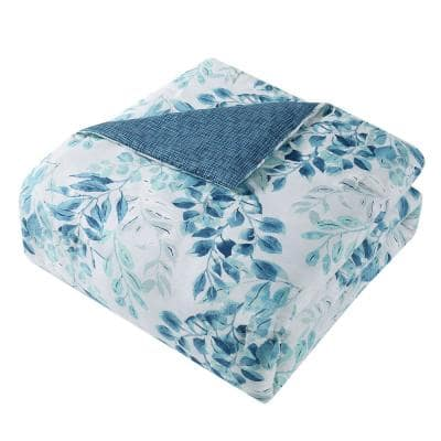 Martina 7-Piece Aqua/White King Comforter Set