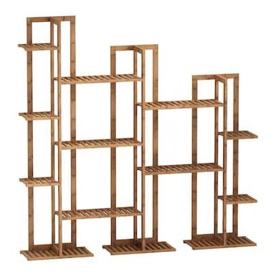 7-Tier Wooden Rack Bamboo Indoor/Outdoor Multi-Layers Shelf Flower Pot Plant Stand