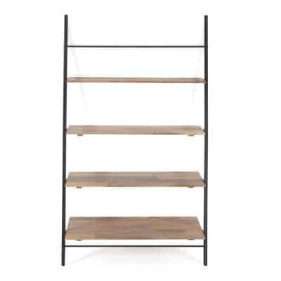 Lasalle 72 in. Black and Natural Mango Wood 4-Shelf Ladder Bookcase with Easy Assembly