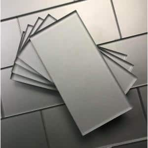 Forever Frosted Matte Silver Subway 3 in. x 6 in. Glass Wall Tile (1 sq. ft.)