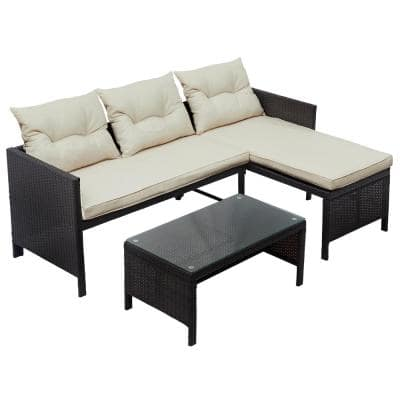 Brown 3-Piece Wicker Outdoor Sectional with Beige Cushions