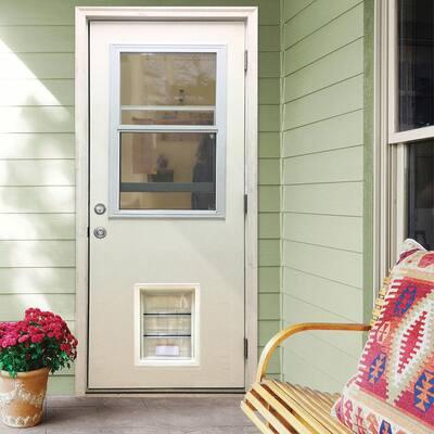36 in. x 80 in. Classic Clear Vented Half Lite LHOS White Primed Fiberglass Prehung Back Door with XL Pet Door