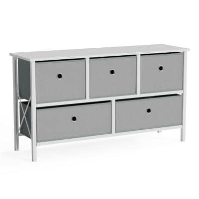 40 in. W x 22 in. H White and Stone Fabric 5-Drawer Storage Chest with Easy Pull Metal Handles