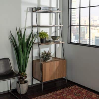 72 in. Mocha Metal and Wood Ladder Storage