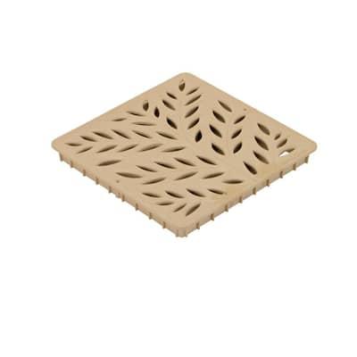 12 in. Square Catch Basin Drain Grate, Decorative Botanical Design, Sand Plastic
