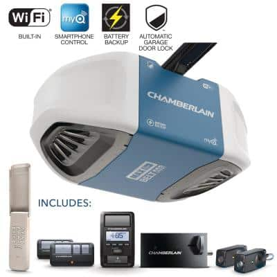 1-1/4 Equivalent HP Belt Drive Lock Wi-Fi Garage Door Opener with Battery Backup and MAX Lifting Power